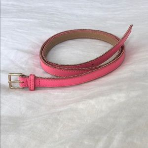 J.Crew pink leather belt with gold trim S